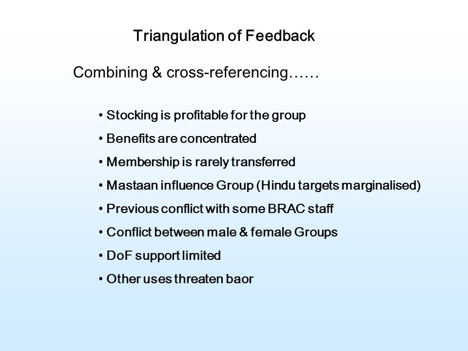 Triangulation of Feedback Combining & cross-referencing…… Stocking is profitable for the group Benefits are concentrated Membership is rarely transferred Mastaan influence Group (Hindu targets marginalised) Previous conflict with some BRAC staff Conflict between male & female Groups DoF support limited Other uses threaten baor