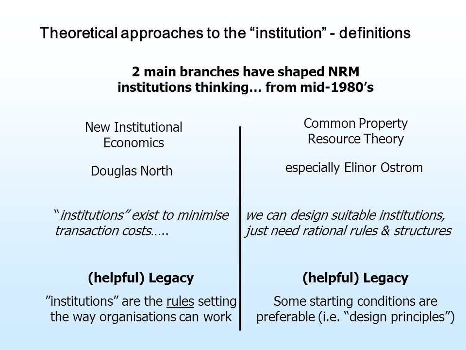 Theoretical approaches to the institution - definitions 2 main branches have shaped NRM institutions thinking… from mid-1980's New Institutional Economics Douglas North Common Property Resource Theory especially Elinor Ostrom institutions exist to minimise transaction costs…..