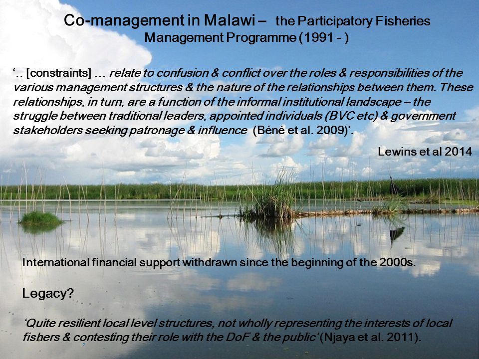 Co-management in Malawi – the Participatory Fisheries Management Programme (1991 - ), '..