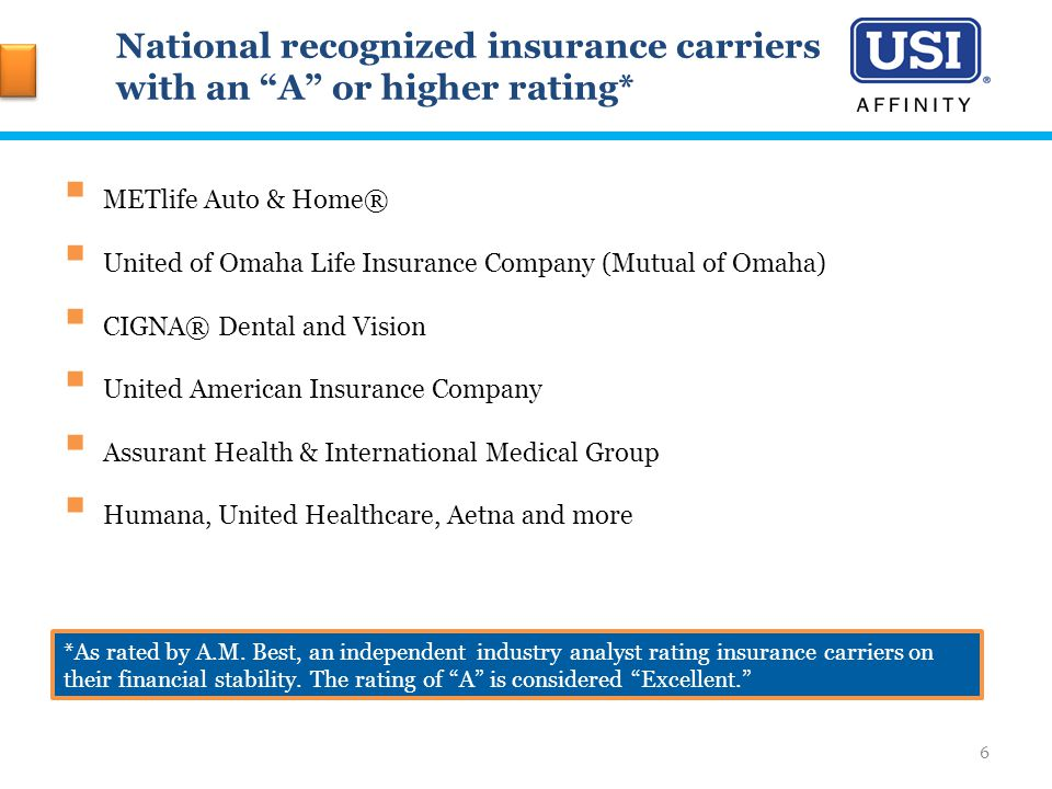 National recognized insurance carriers with an A or higher rating*  METlife Auto & Home®  United of Omaha Life Insurance Company (Mutual of Omaha)  CIGNA® Dental and Vision  United American Insurance Company  Assurant Health & International Medical Group  Humana, United Healthcare, Aetna and more *As rated by A.M.