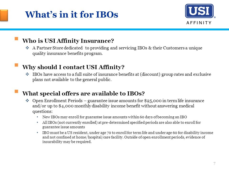 What's in it for IBOs  Who is USI Affinity Insurance.