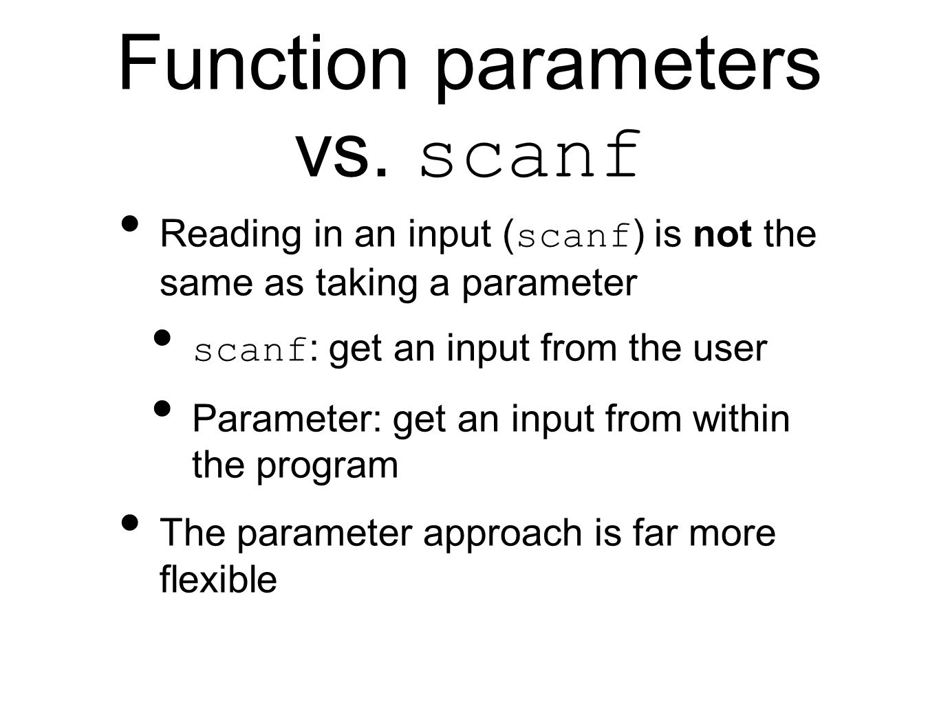 Function parameters vs.