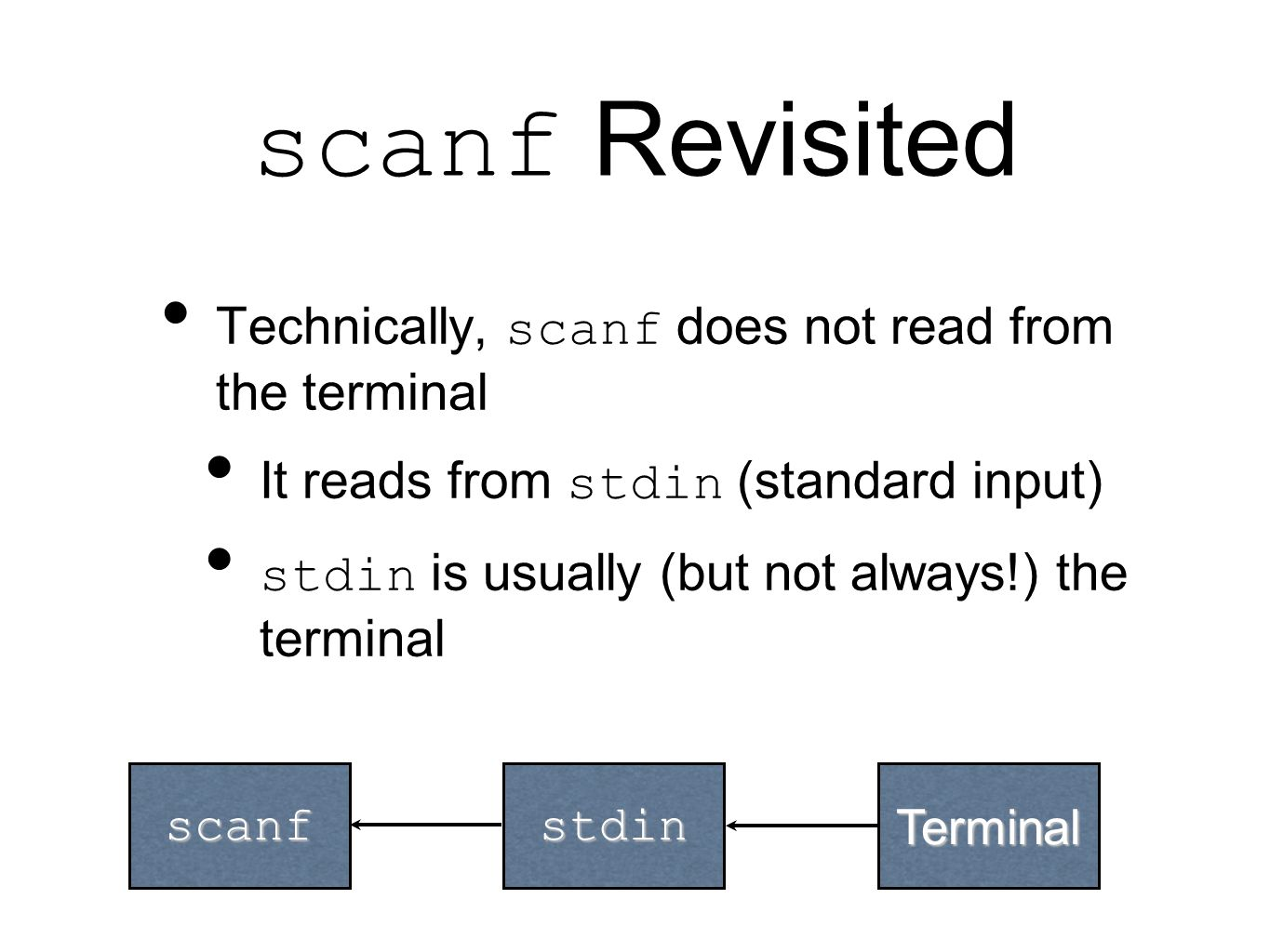 scanf Revisited Technically, scanf does not read from the terminal It reads from stdin (standard input) stdin is usually (but not always!) the terminal scanfstdinTerminal
