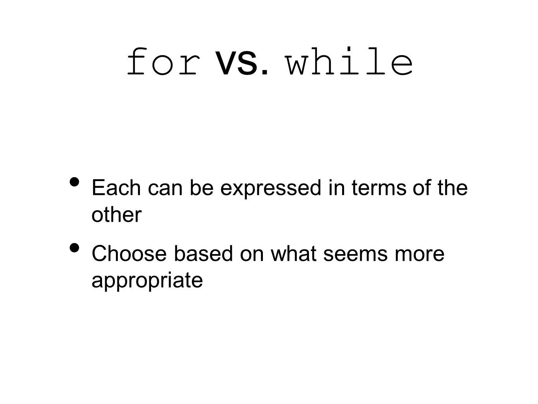 for vs.