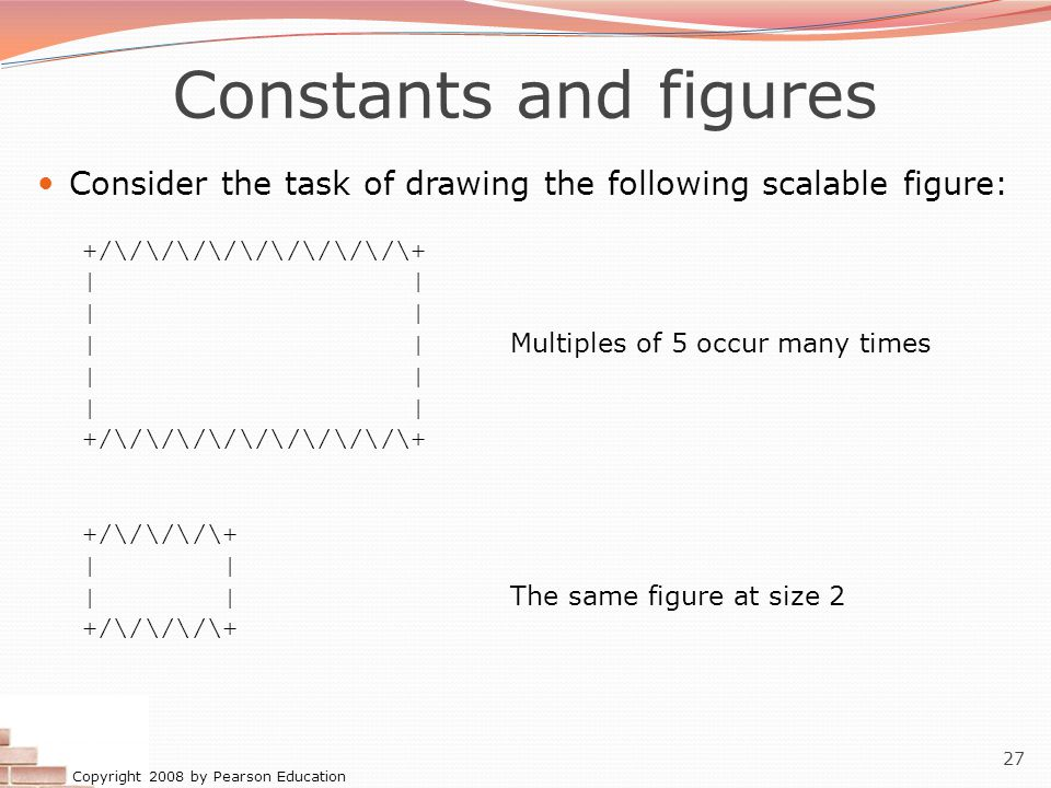 Copyright 2008 by Pearson Education 27 Constants and figures Consider the task of drawing the following scalable figure: +/\/\/\/\/\/\/\/\/\/\+ | | | Multiples of 5 occur many times | +/\/\/\/\/\/\/\/\/\/\+ +/\/\/\/\+ | | | The same figure at size 2 +/\/\/\/\+