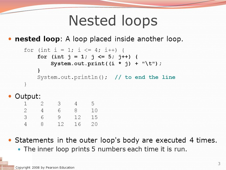 Copyright 2008 by Pearson Education 3 Nested loops nested loop: A loop placed inside another loop.