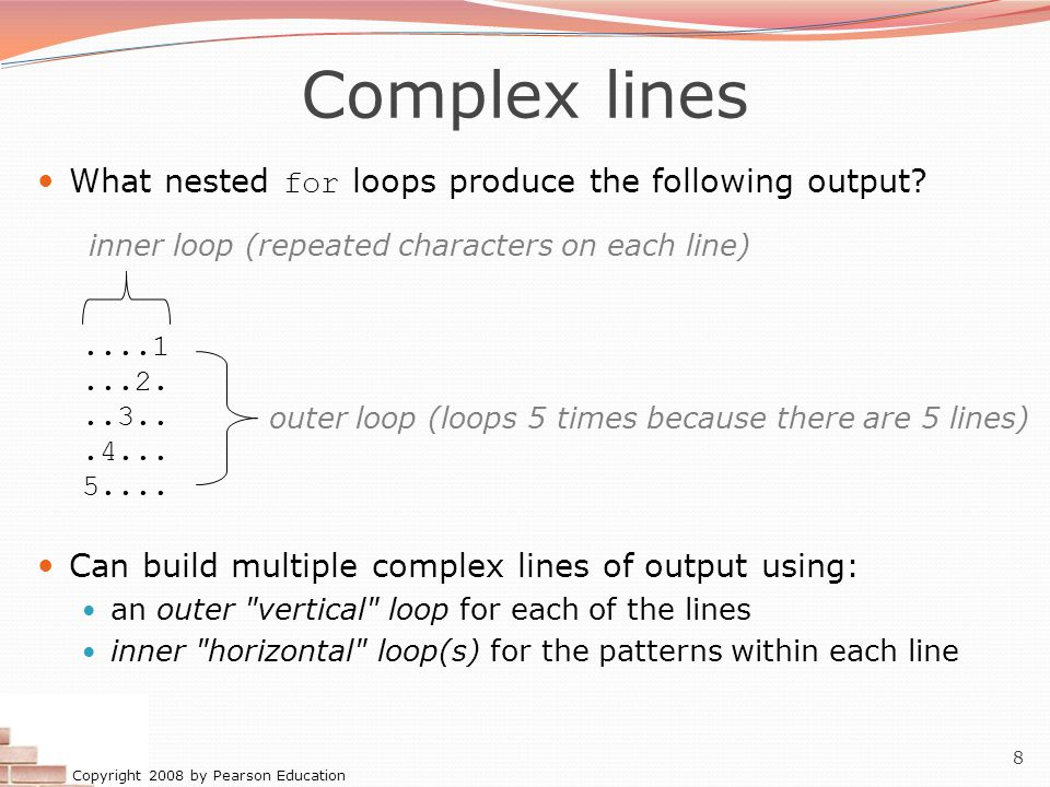 Copyright 2008 by Pearson Education 8 Complex lines What nested for loops produce the following output?....1...2...3...4...