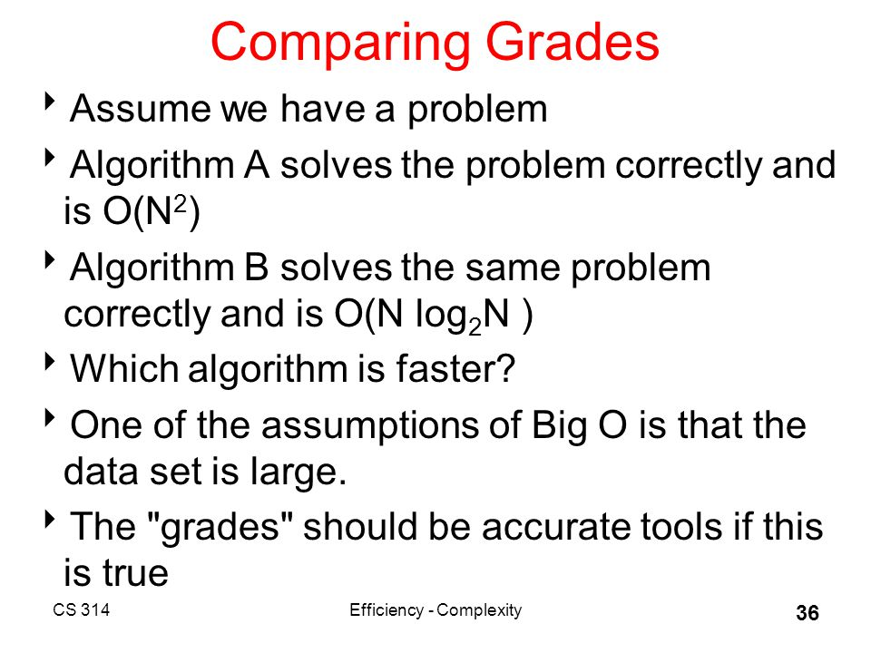 CS 314Efficiency - Complexity 36 Comparing Grades  Assume we have a problem  Algorithm A solves the problem correctly and is O(N 2 )  Algorithm B solves the same problem correctly and is O(N log 2 N )  Which algorithm is faster.