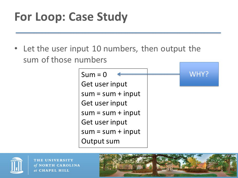 For Loop: Case Study Let the user input 10 numbers, then output the sum of those numbers Sum = 0 Get user input sum = sum + input Get user input sum = sum + input Get user input sum = sum + input Output sum WHY
