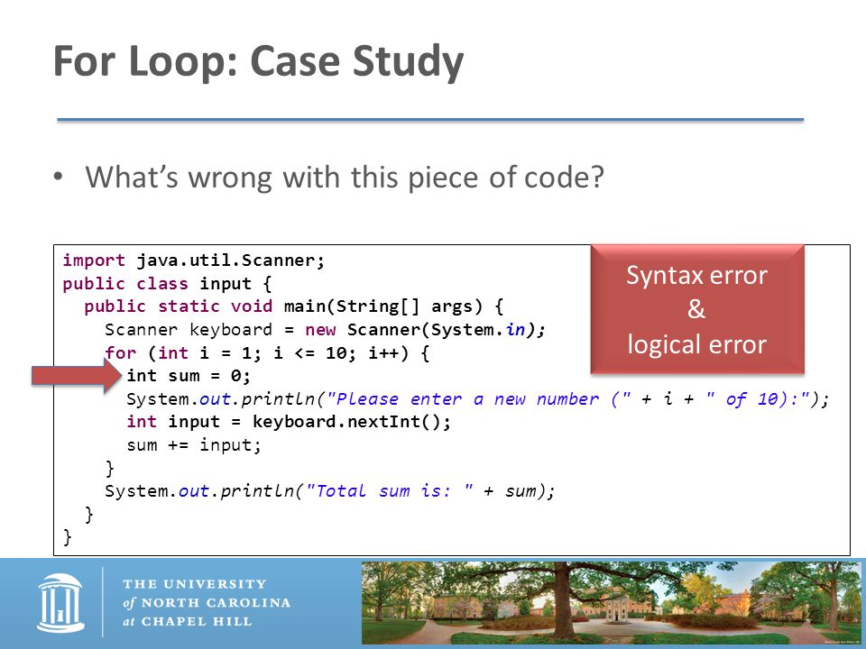 For Loop: Case Study What's wrong with this piece of code.