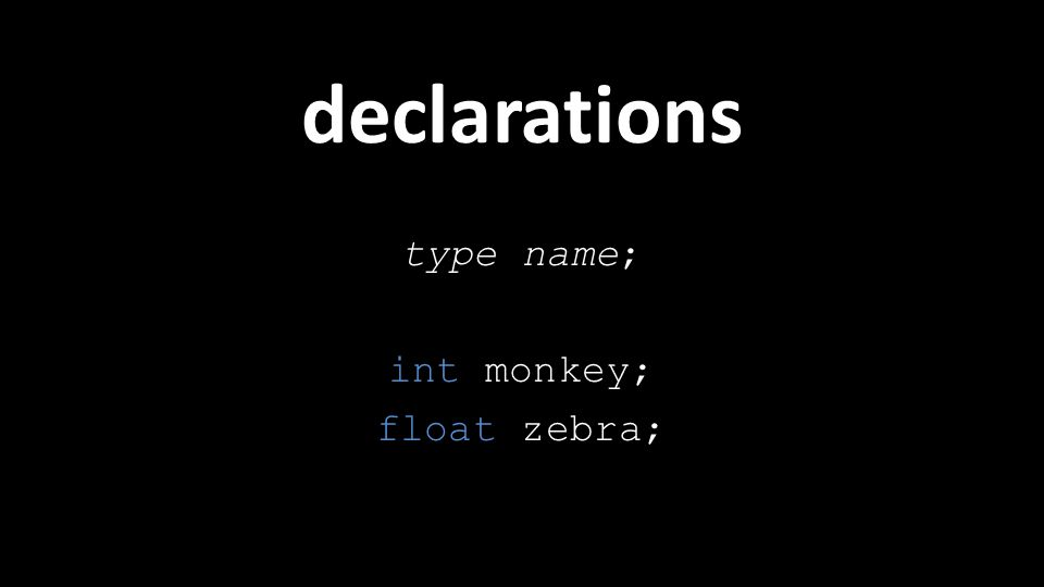 declarations type name; int monkey; float zebra;