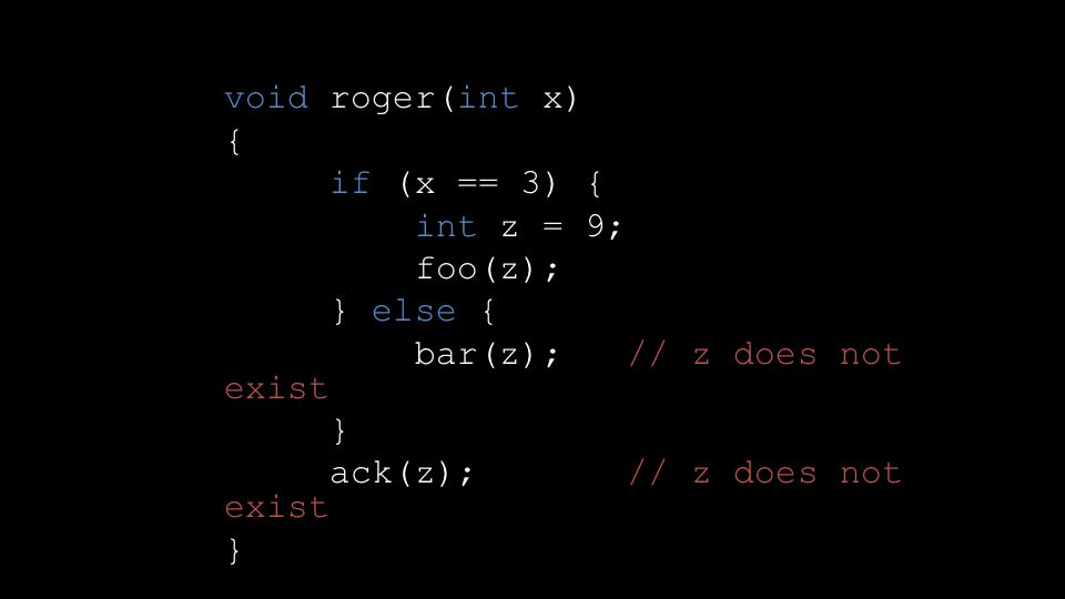 void roger(int x) { if (x == 3) { int z = 9; foo(z); } else { bar(z); // z does not exist } ack(z); // z does not exist }