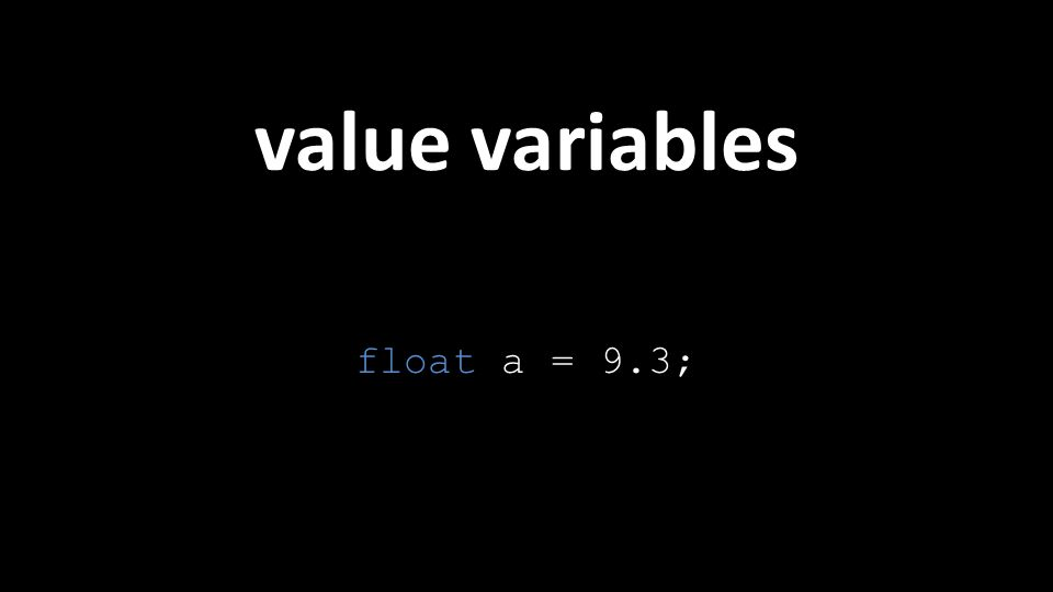 value variables float a = 9.3;