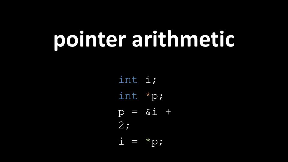 pointer arithmetic int i; int *p; p = &i + 2; i = *p;