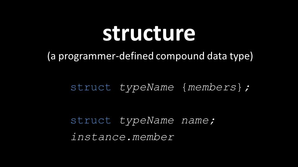 structure (a programmer-defined compound data type) struct typeName {members}; struct typeName name; instance.member