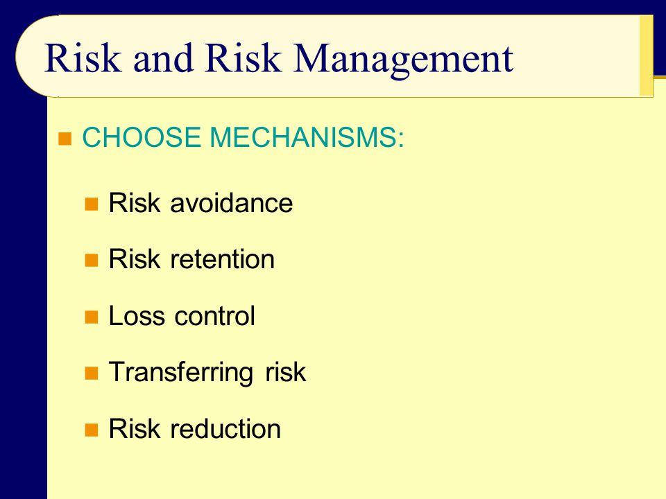 Risk and Risk Management Risk avoidance Risk retention Loss control Transferring risk Risk reduction CHOOSE MECHANISMS: