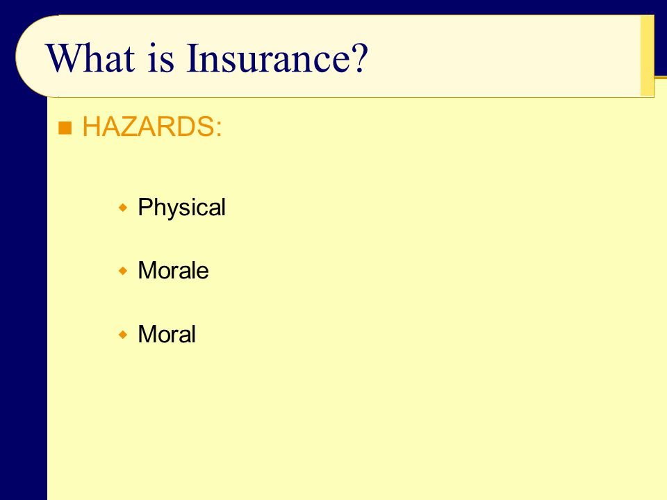  Physical  Morale  Moral What is Insurance? HAZARDS: