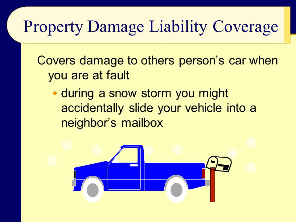 Property Damage Liability Coverage Covers damage to others person's car when you are at fault  during a snow storm you might accidentally slide your vehicle into a neighbor's mailbox        