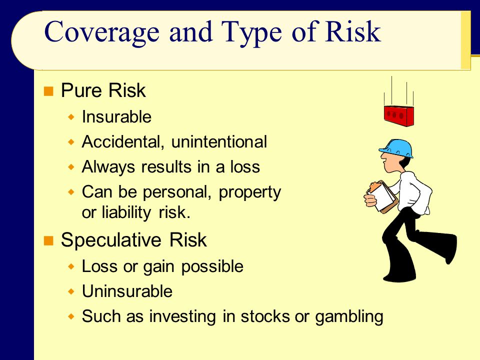 Coverage and Type of Risk Pure Risk  Insurable  Accidental, unintentional  Always results in a loss  Can be personal, property or liability risk.