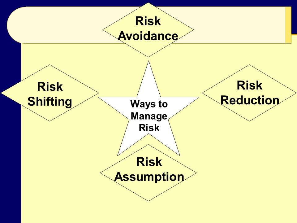 Risk Avoidance Risk Shifting Risk Assumption Risk Reduction Ways to Manage Risk