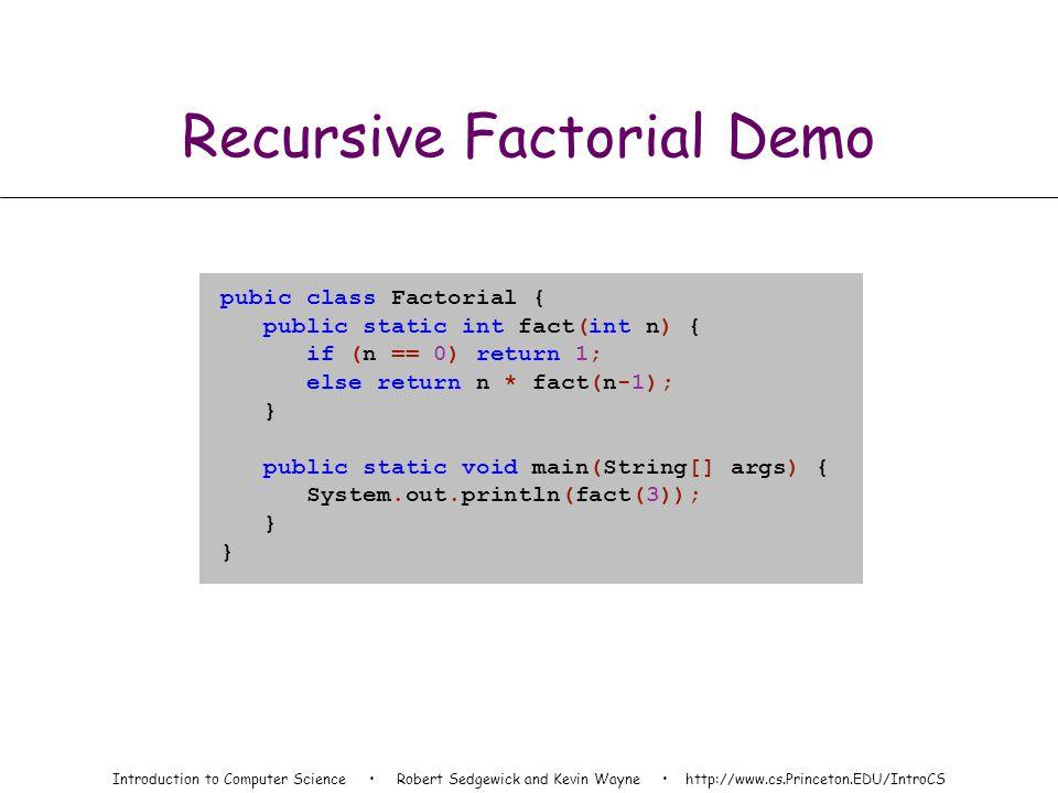 static int fact(int n) { if (n == 0) return 1; else return n * fact(n-1); } fact(3) n = 3 environment