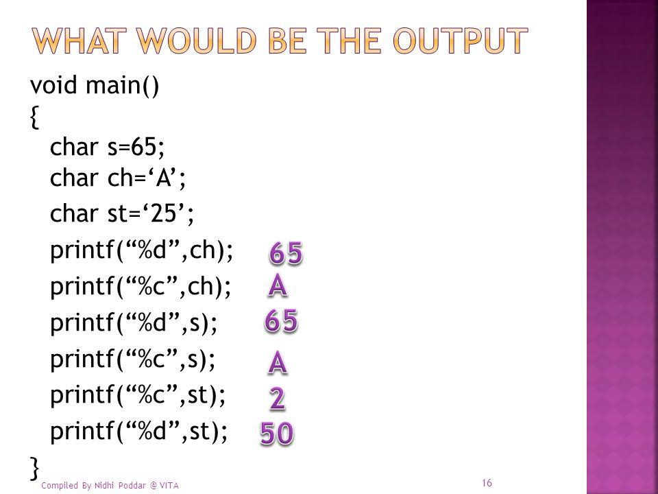 Compiled By Nidhi Poddar @ VITA void main() { char s=65; char ch='A'; char st='25'; printf( %d ,ch); printf( %c ,ch); printf( %d ,s); printf( %c ,s); printf( %c ,st); printf( %d ,st); } 16