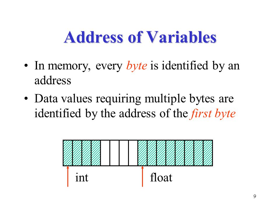 9 Address of Variables In memory, every byte is identified by an address Data values requiring multiple bytes are identified by the address of the fir