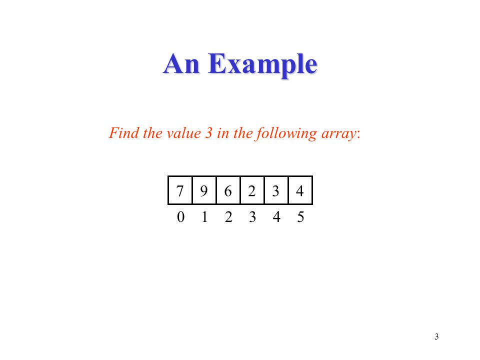 3 An Example 7 9 6 2 3 4 0 1 2 3 4 5 Find the value 3 in the following array: