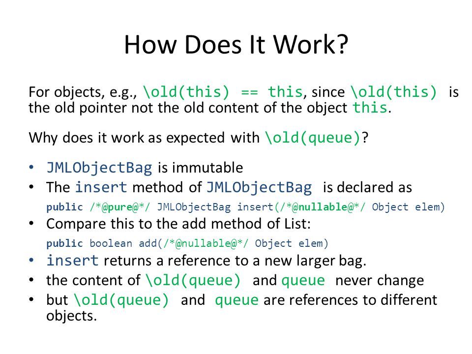 For objects, e.g., \old(this) == this, since \old(this) is the old pointer not the old content of the object this.