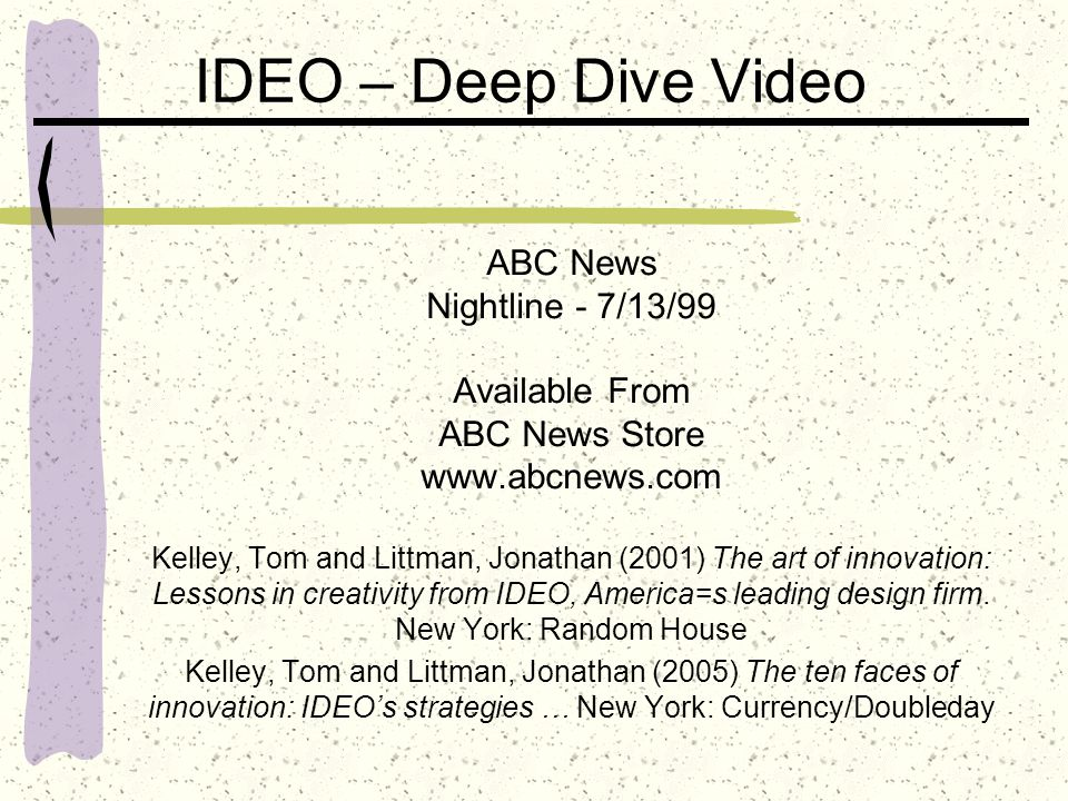 IDEO – Deep Dive Video ABC News Nightline - 7/13/99 Available From ABC News Store www.abcnews.com Kelley, Tom and Littman, Jonathan (2001) The art of