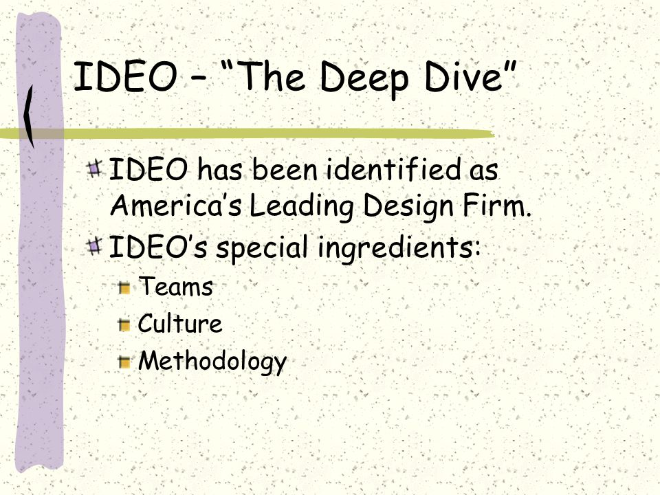"IDEO – ""The Deep Dive"" IDEO has been identified as America's Leading Design Firm. IDEO's special ingredients: Teams Culture Methodology"