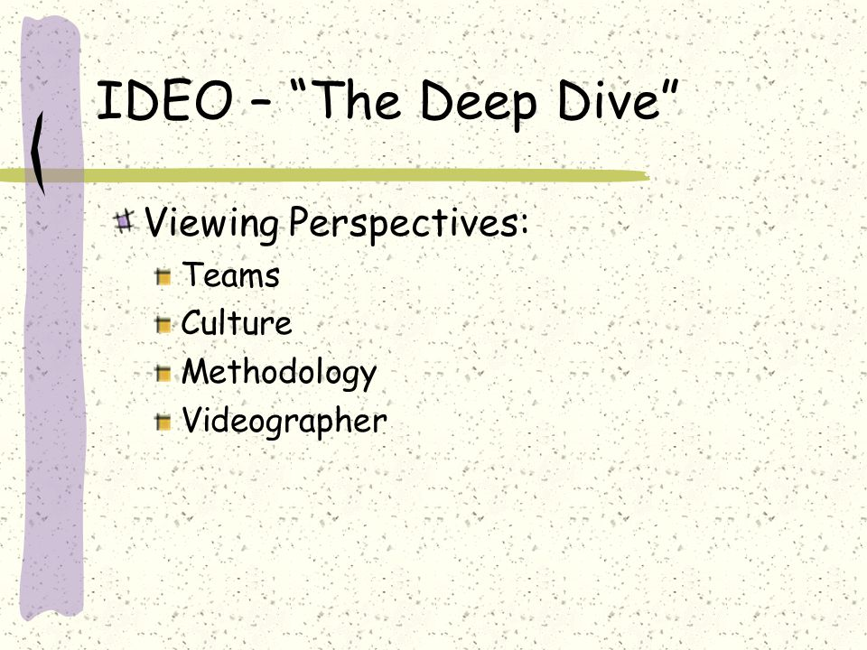 "IDEO – ""The Deep Dive"" Viewing Perspectives: Teams Culture Methodology Videographer"
