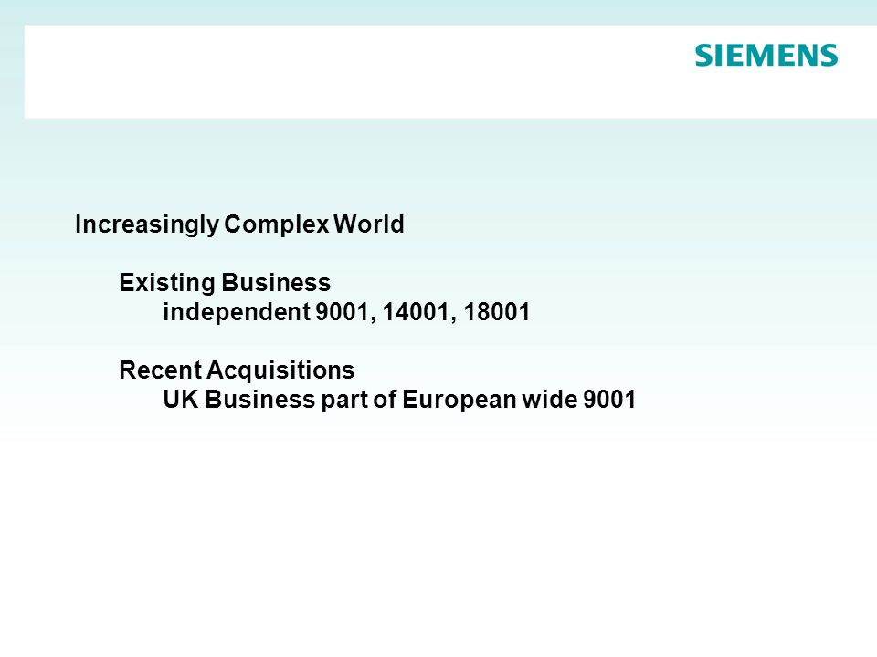 Increasingly Complex World Existing Business independent 9001, 14001, 18001 Recent Acquisitions UK Business part of European wide 9001