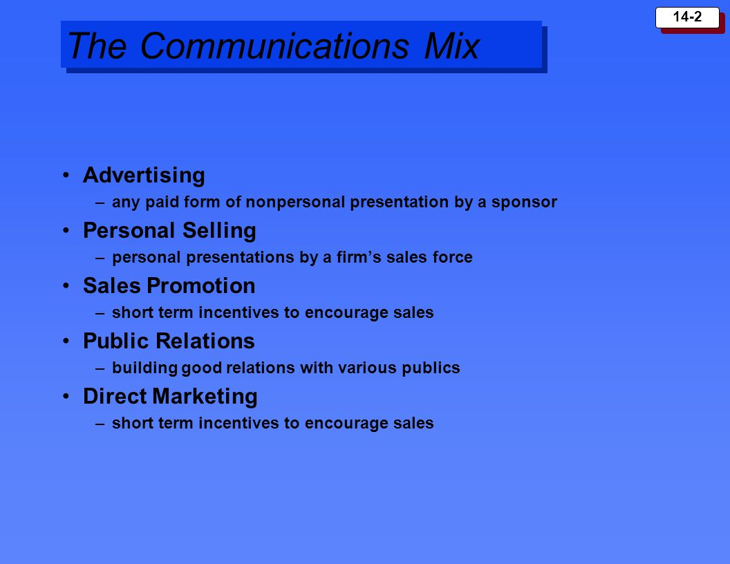 14-3 Developing Effective Communication Identifying Target Audience Determining Communications Objectives –Buyer Readiness Stages Designing Message –Message Content –Message Structure –Message Format Media Selection –personal and nonpersonal communications channels Message Source Feedback Collection