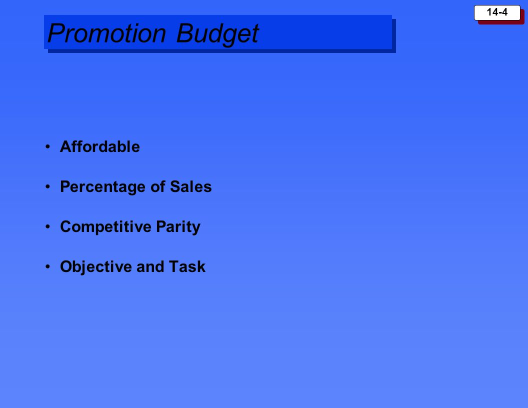 14-5 Promotion Mix Advertising –reaches many buyers, expressive –impersonal Personal Selling –personal interaction, relationship building –costly Sales Promotion –generates immediate response –short-lived Public Relations –more believable, economical, underused by firms Direct Marketing –customized, interactive
