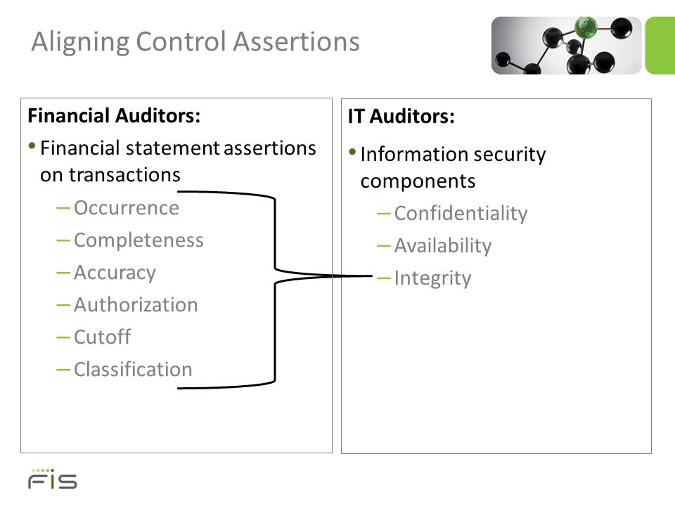 Aligning Control Assertions IT Auditors: Information security components – Confidentiality – Availability – Integrity Financial Auditors: Financial statement assertions on transactions – Occurrence – Completeness – Accuracy – Authorization – Cutoff – Classification