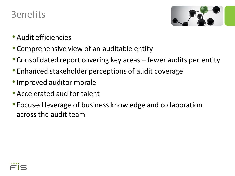 People – Expanding auditor skill sets to cover all areas while retaining benefits of subject matter expertise – Helping auditors with different skills communicate and find better ways to work together Ensuring coverage is just right – Broad enough to cover the key risk areas – Deep enough where necessary – Organized sufficiently to avoid spin-off audits Challenges