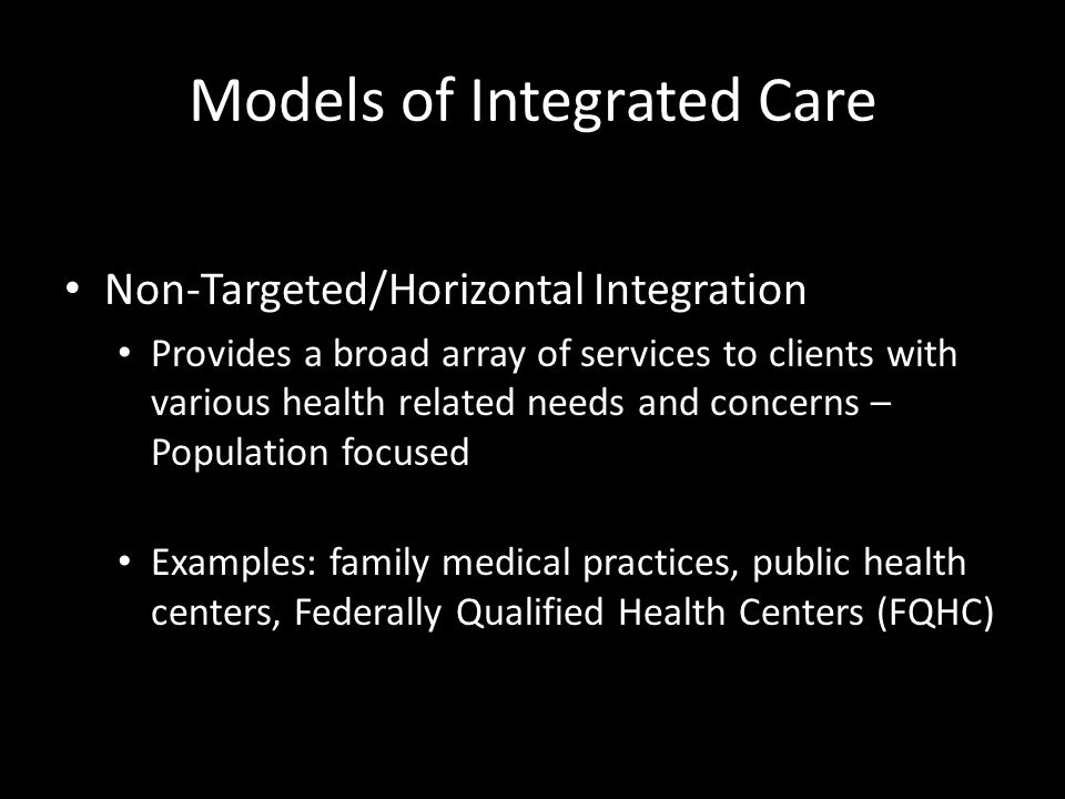 Integrated care is the seamless and dynamic interaction of PCPs and BHPs working within one agency providing both counseling and traditional medical care services. Curtis & Christian, 2012