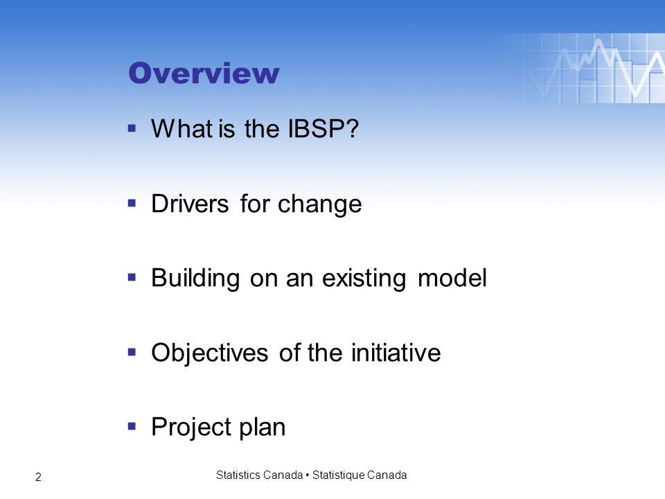 Statistics Canada Statistique Canada 3 What is the IBSP.