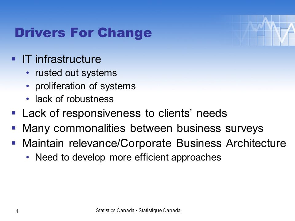 Building On An Existing Model  Based on the existing UES model  Incorporate lessons learned Need to streamline Need to consolidate different processing models Introduce and support stronger governance model  Incorporate new methodologies  Introduce more flexibility into the system to respond to changing clients' needs Statistics Canada Statistique Canada 5