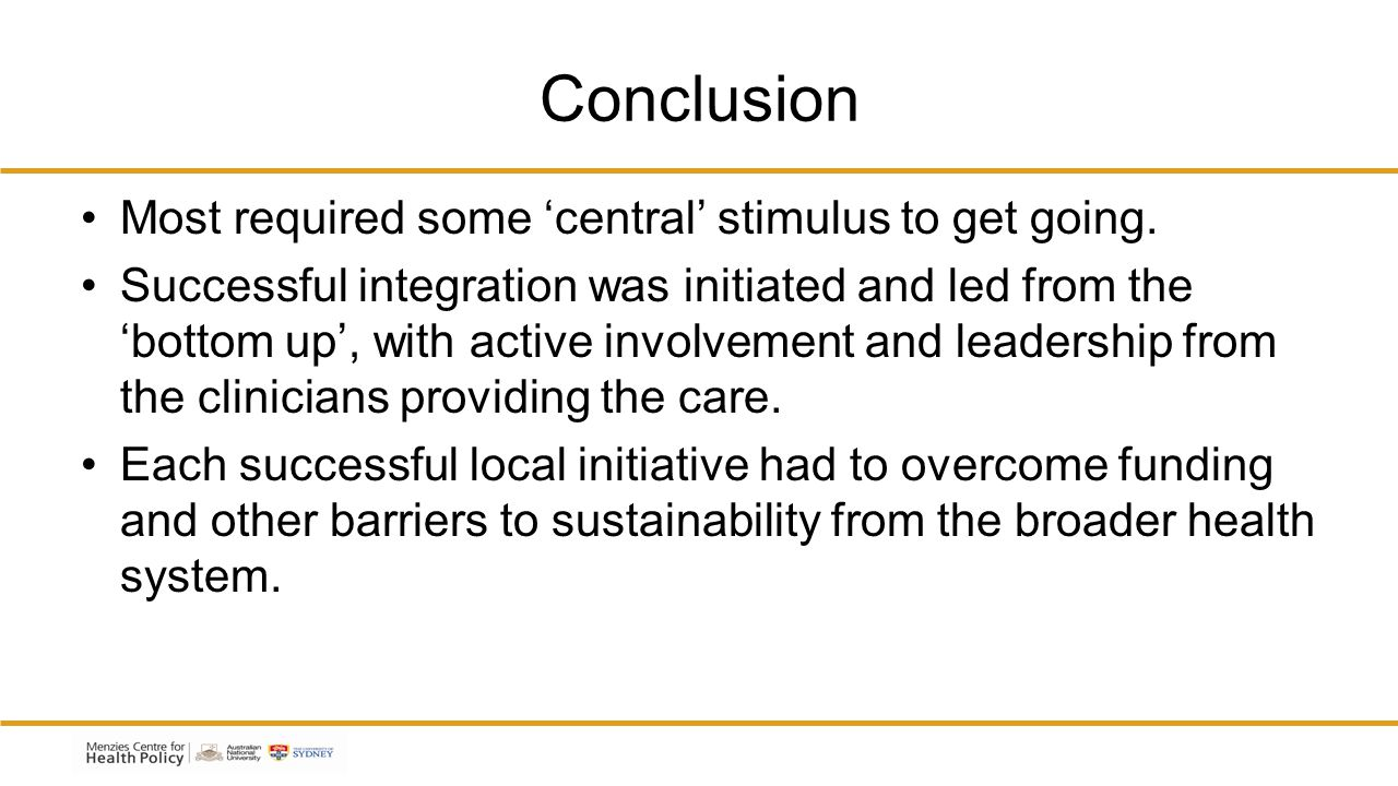 Conclusion Most required some 'central' stimulus to get going.