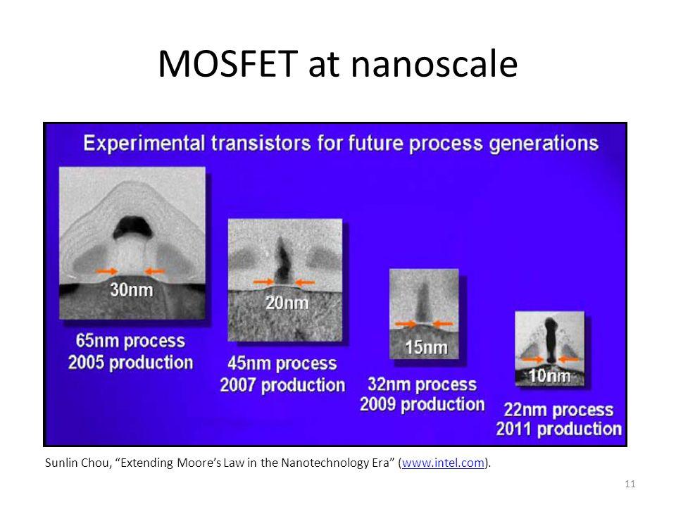 11 MOSFET at nanoscale Sunlin Chou, Extending Moore's Law in the Nanotechnology Era (www.intel.com).www.intel.com