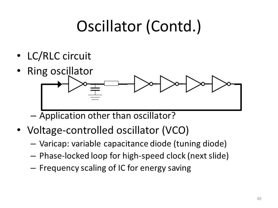 LC/RLC circuit Ring oscillator – Application other than oscillator.