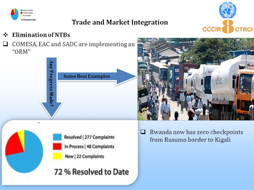 " Elimination of NTBs  COMESA, EAC and SADC are implementing an ""ORM"" Trade and Market Integration  Rwanda now has zero checkpoints from Rusumo bord"