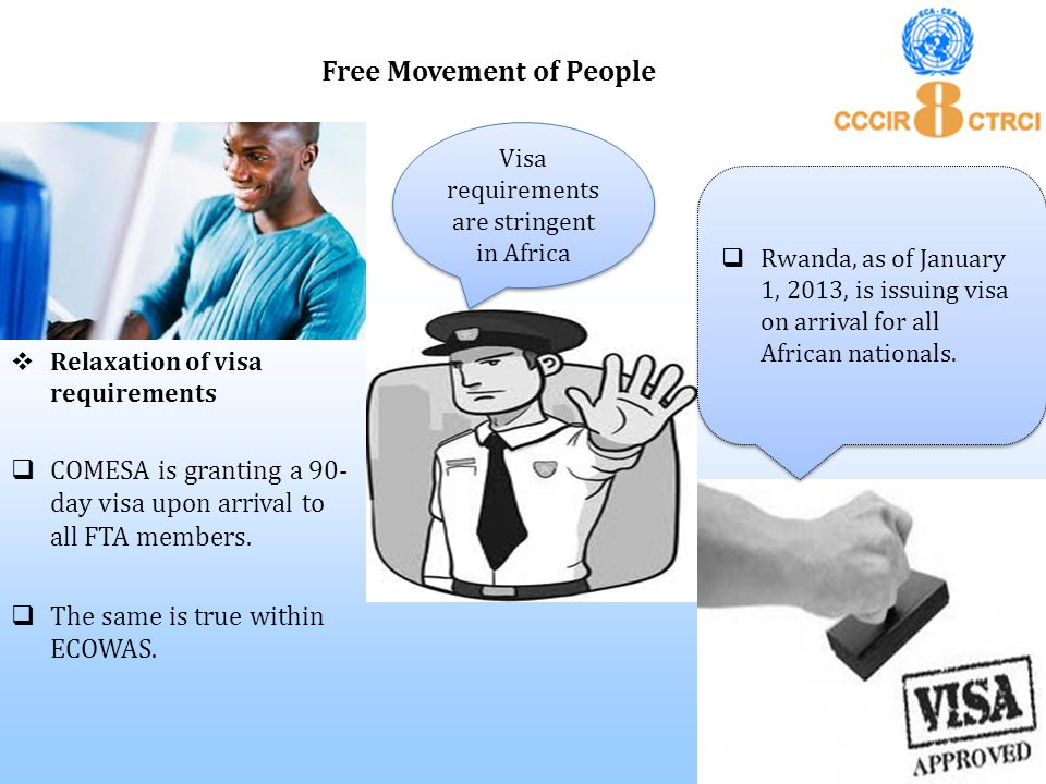  Relaxation of visa requirements  COMESA is granting a 90- day visa upon arrival to all FTA members.  The same is true within ECOWAS. Free Movement