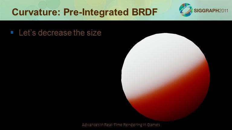 Advances in Real-Time Rendering in Games Curvature: Pre-Integrated BRDF   Let's decrease the size