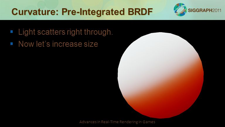 Advances in Real-Time Rendering in Games Curvature: Pre-Integrated BRDF   Light scatters right through.   Now let's increase size