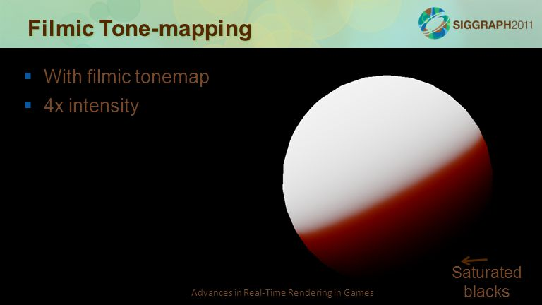 Advances in Real-Time Rendering in Games Filmic Tone-mapping   With filmic tonemap   4x intensity Saturated blacks