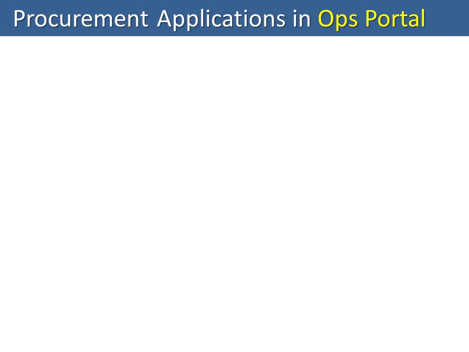 Procurement Applications in Ops Portal