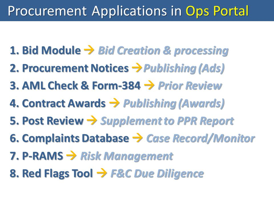 1. Bid Module  Bid Creation & processing 2. Procurement Notices  Publishing (Ads) 3.
